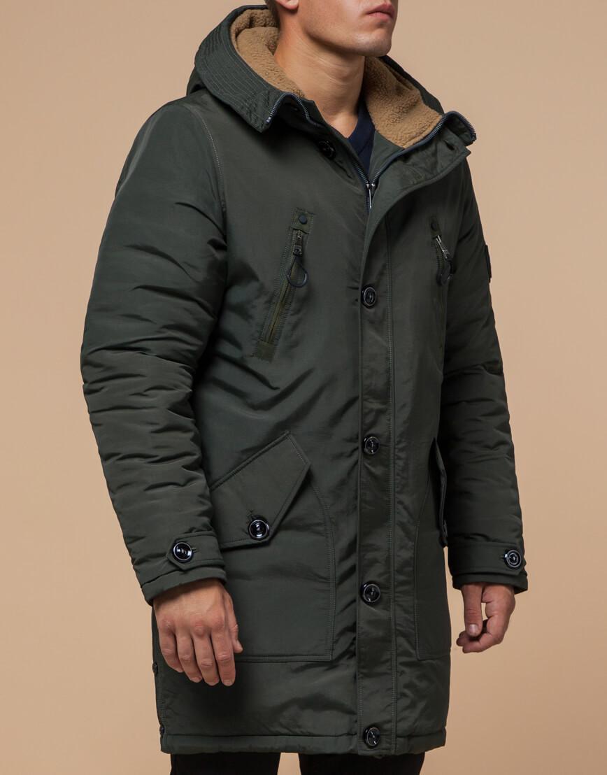 Зимняя парка мужская цвета хаки модель 96120 оптом фото 2