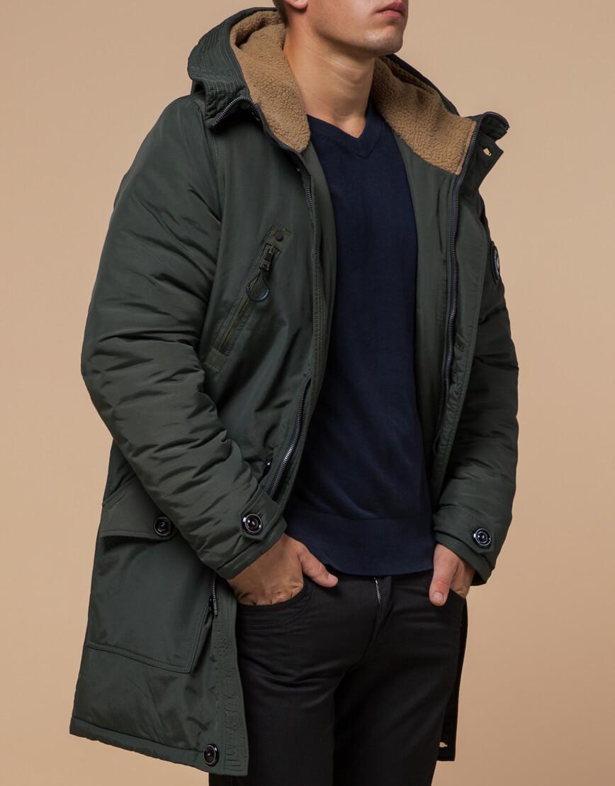 Зимняя парка мужская цвета хаки модель 96120 оптом фото 1