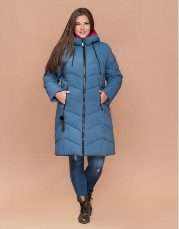 Оригинальная зимняя женская куртка большого размера темно-голубая модель 25695