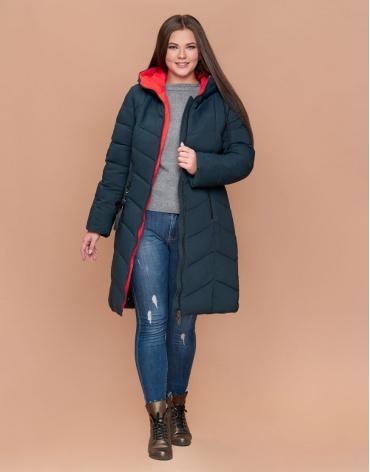 Женская темно-зеленая зимняя куртка большого размера на молнии модель 25695