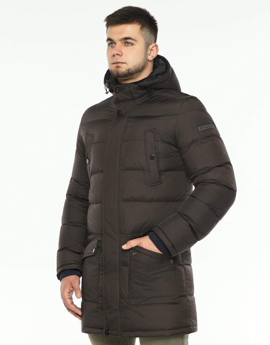 Практичная теплая куртка цвет кофе модель 32045 фото 3