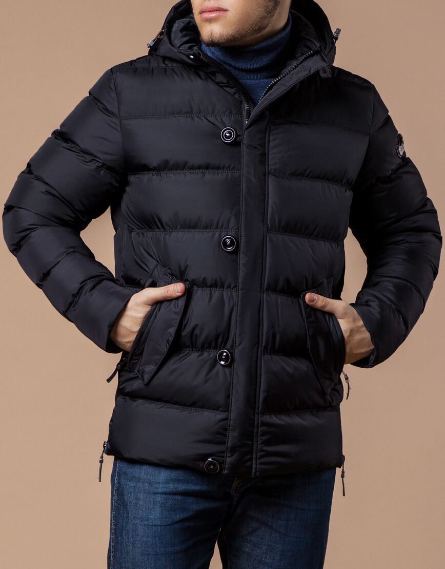Черная куртка с капюшоном комфортная модель 20180 фото 2