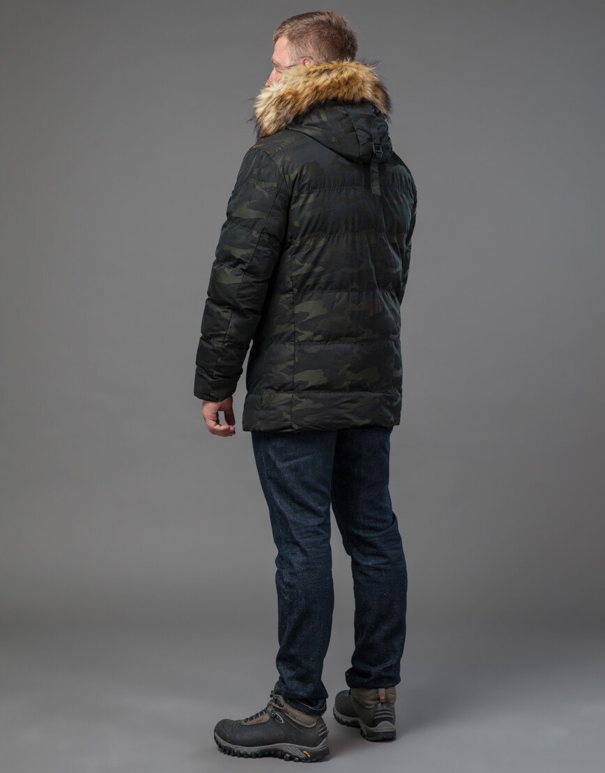 Дизайнерская темно-зеленая куртка теплая модель 76029 фото 4