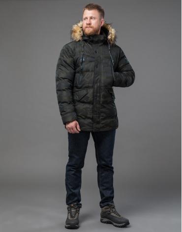 Дизайнерская темно-зеленая куртка теплая модель 76029