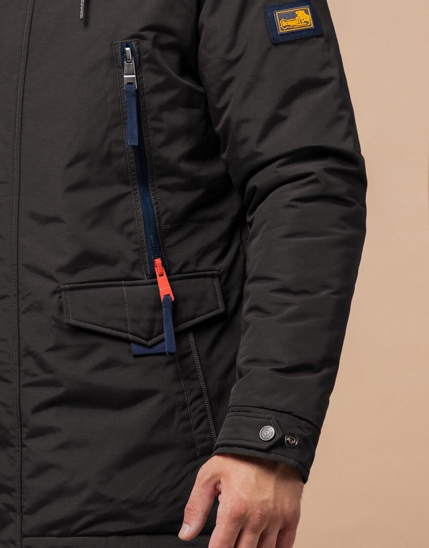 Мужская зимняя парка цвет коричневый-темно-синий модель 1533 оптом