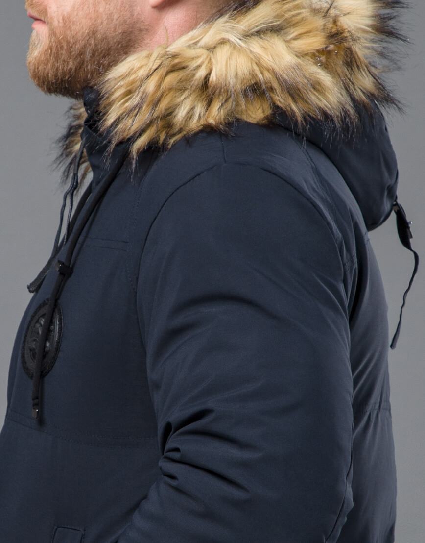 Зимняя синяя куртка модная модель 55825
