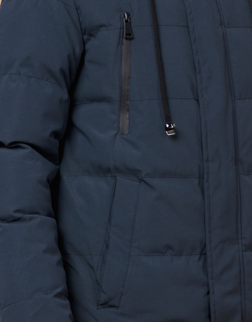 Куртка темно-синяя зимняя брендовая модель 25210 фото 6