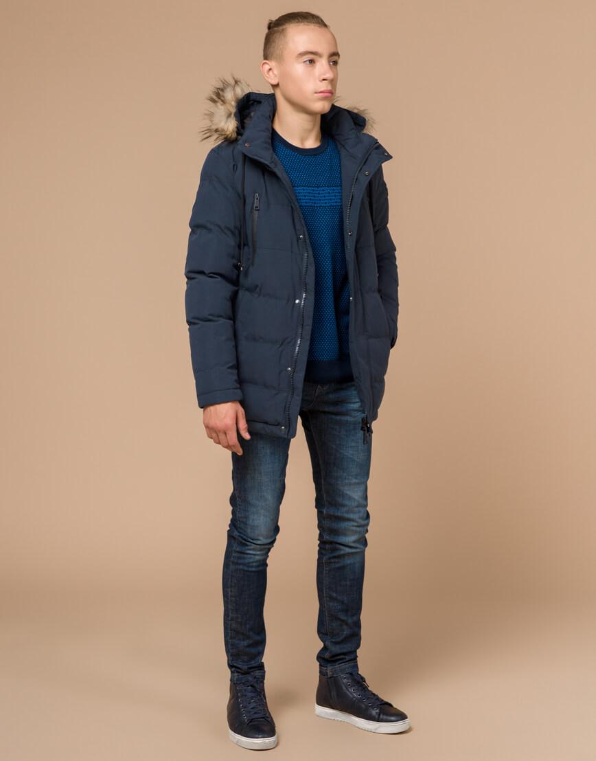 Куртка темно-синяя зимняя брендовая модель 25210 фото 3