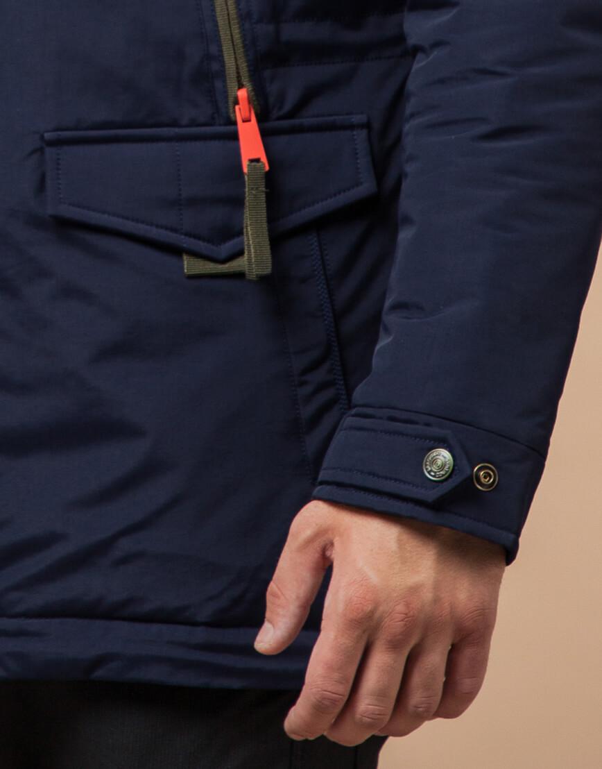 Парка мужская на зиму цвет синий-хаки модель 1533 оптом