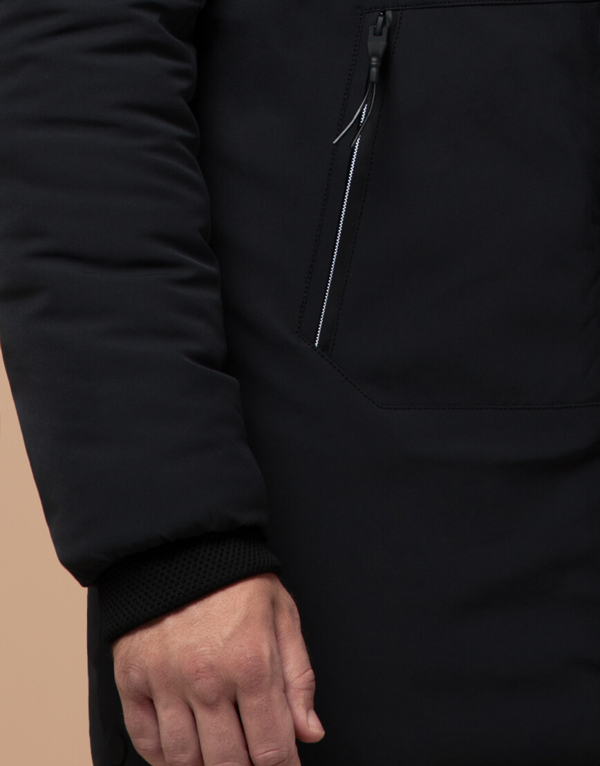 Мужская черная парка на зиму модель 9842 оптом