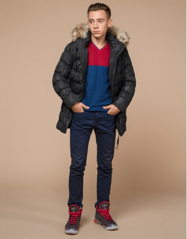 Подростковая дизайнерская современная черная куртка модель 25030