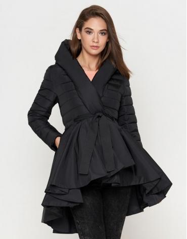 Куртка черная женская с поясом модель 25755 фото 1