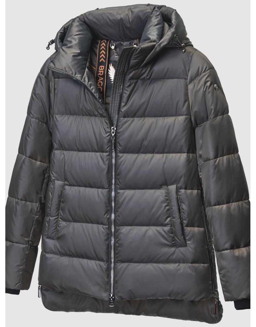 Зимняя коричневая куртка с карманами на кнопках женская Braggart 200059 фото 3