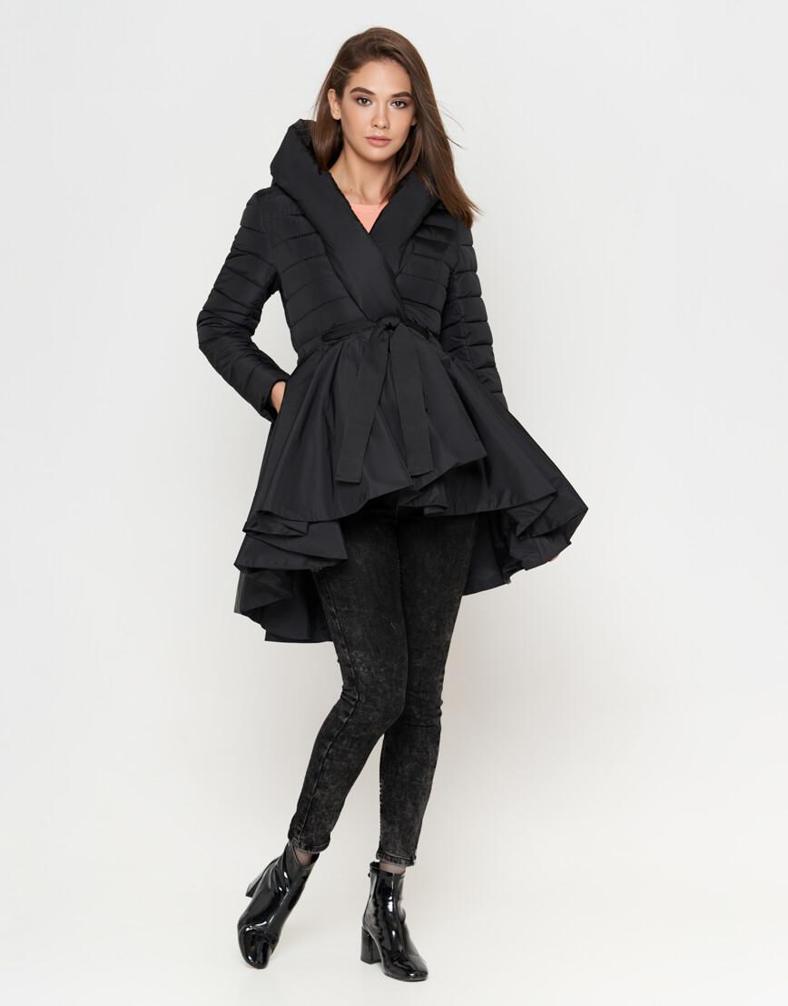 Куртка черная женская с поясом модель 25755