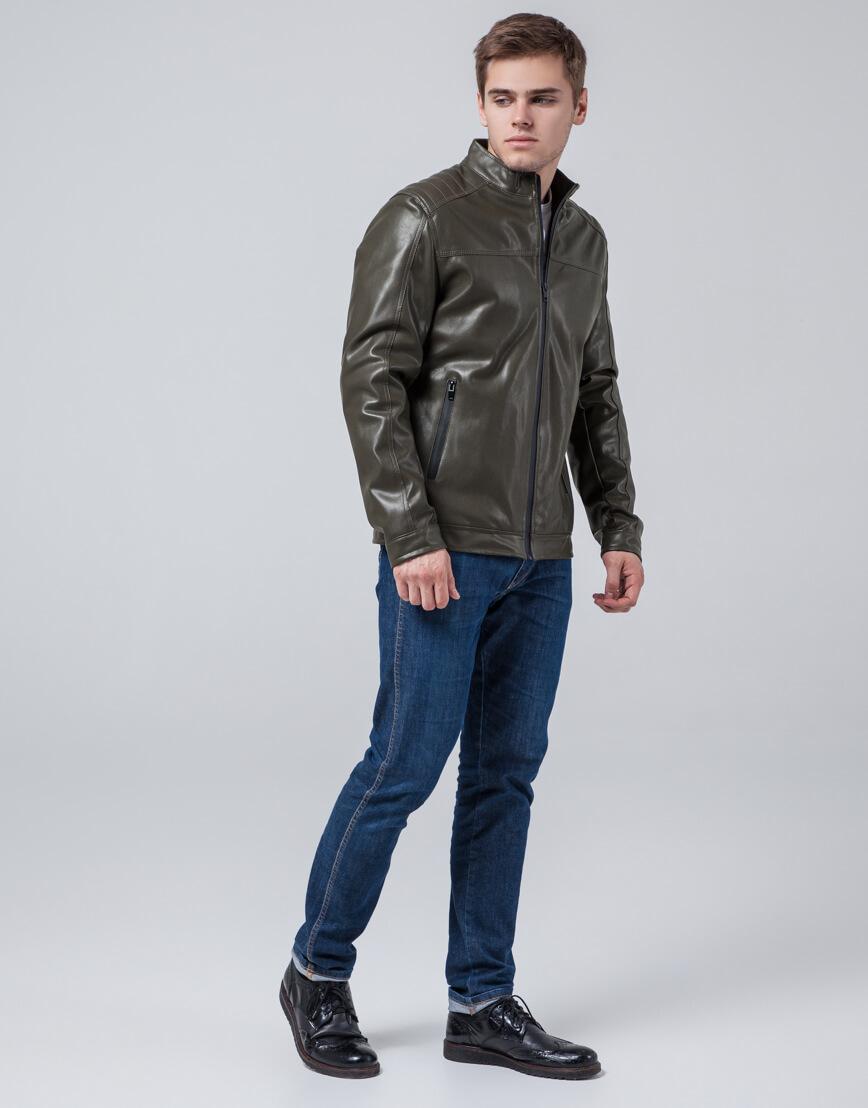 Осенне-весенняя куртка ветронепродуваемая цвета хаки модель 4834 фото 1