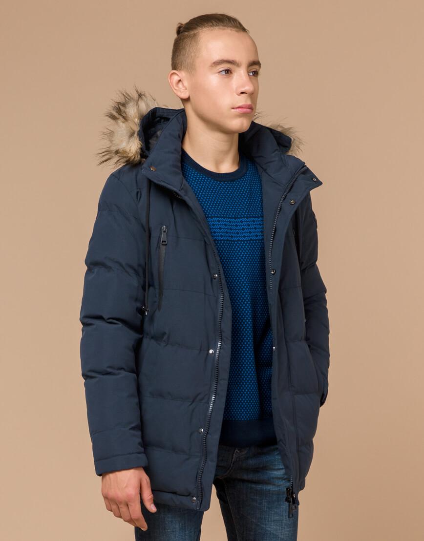 Куртка темно-синяя зимняя брендовая модель 25210 фото 2
