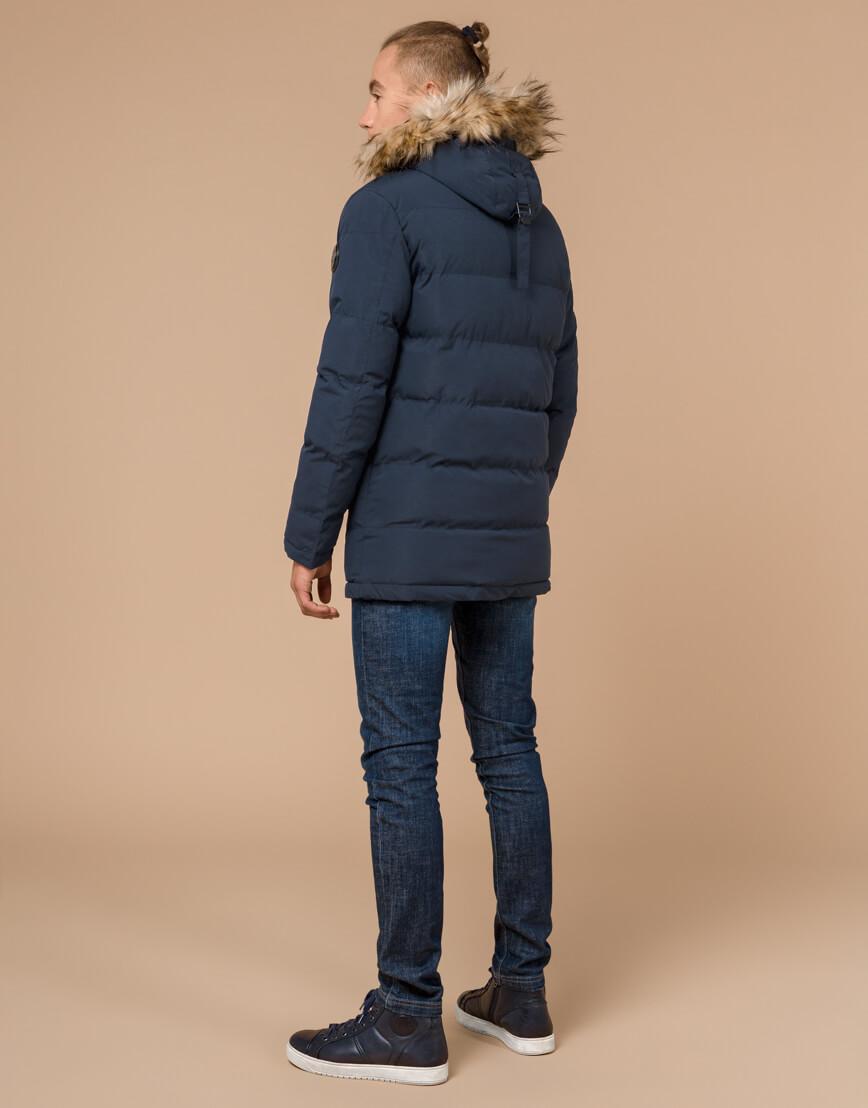 Куртка темно-синяя зимняя брендовая модель 25210 фото 4