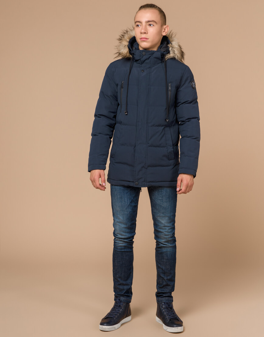 Куртка темно-синяя зимняя брендовая модель 25210 фото 1