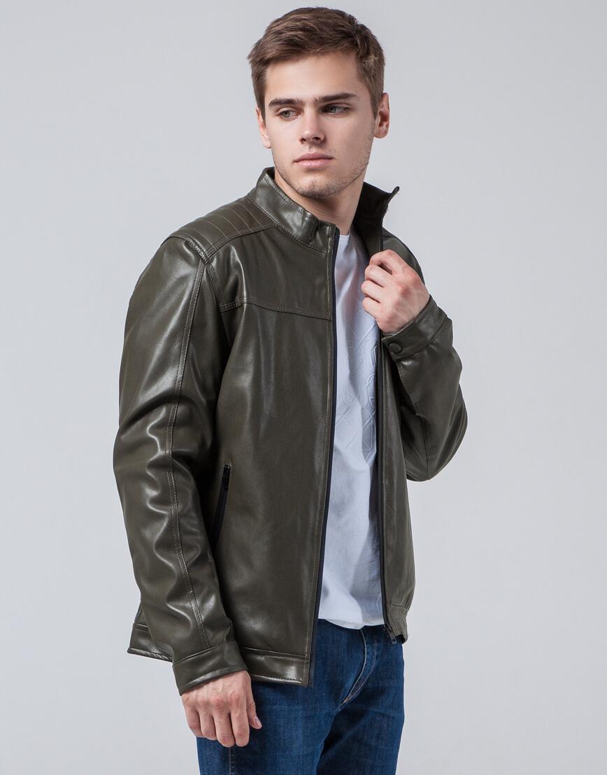 Осенне-весенняя куртка ветронепродуваемая цвета хаки модель 4834 фото 2