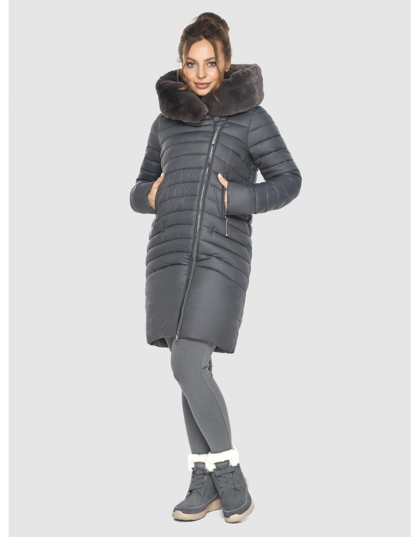 Серая стёганая куртка женская Ajento 24138 фото 6