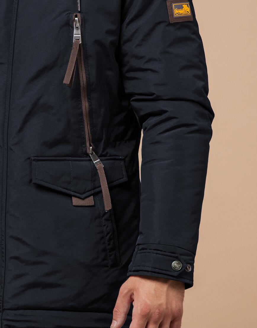 Зимняя парка мужская цвет темно-серый-коричневый модель 1533 оптом фото 5