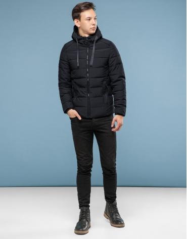 Практичная черная подростковая куртка модель 6008-1 оптом фото 1