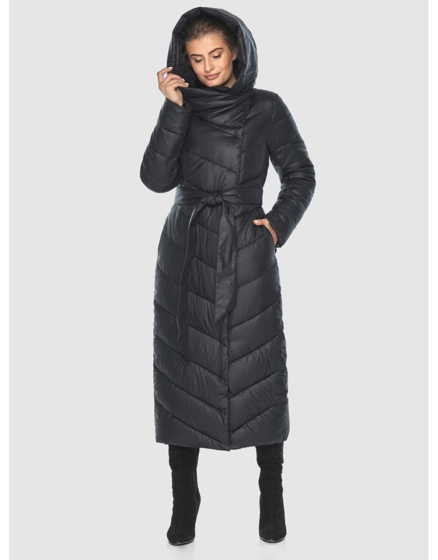 Чёрная стёганая женская куртка Ajento 23046 фото 5