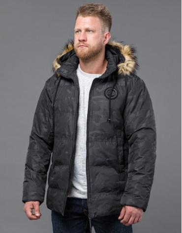 Черная дизайнерская куртка на зиму модель 53759