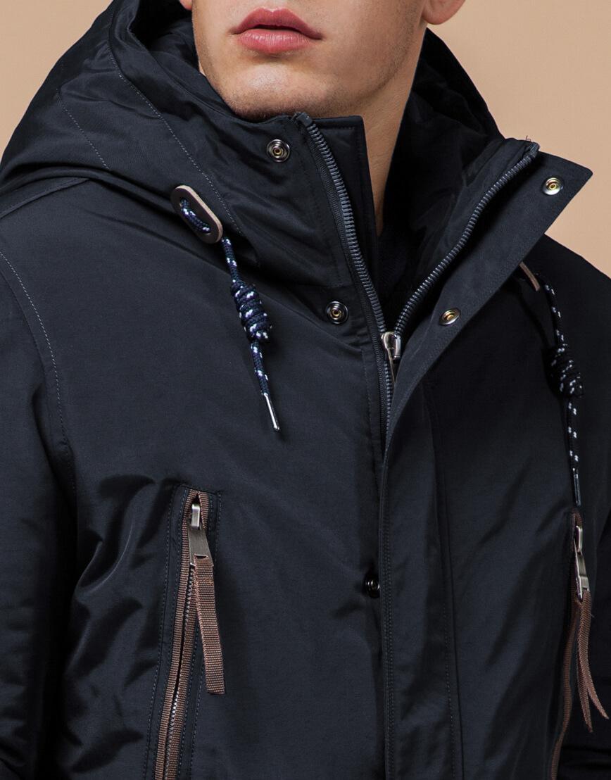 Зимняя парка мужская цвет темно-серый-коричневый модель 1533 оптом фото 4