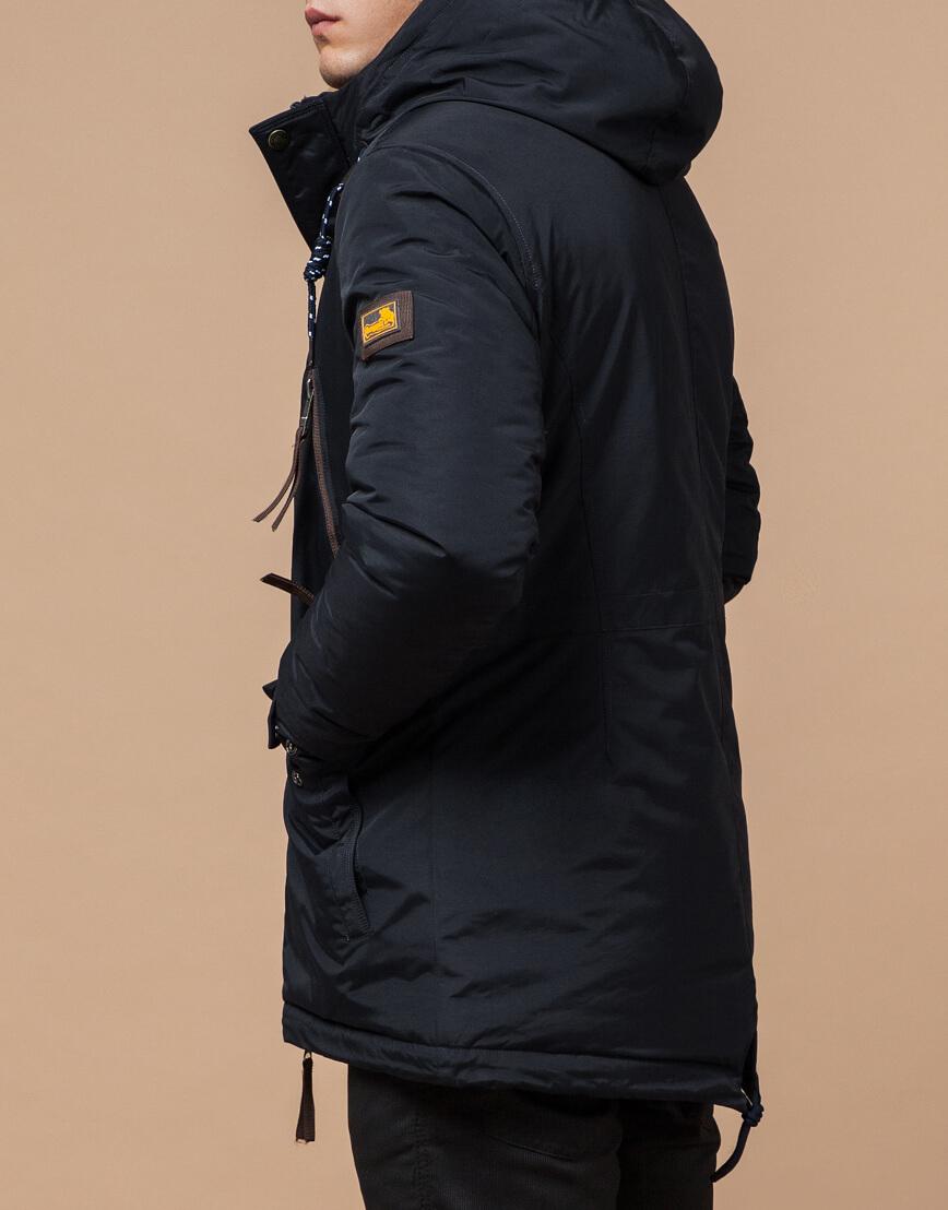 Зимняя парка мужская цвет темно-серый-коричневый модель 1533 оптом фото 3