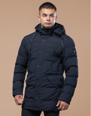 Куртка с опушкой подростковая синего цвета модель 25320 оптом