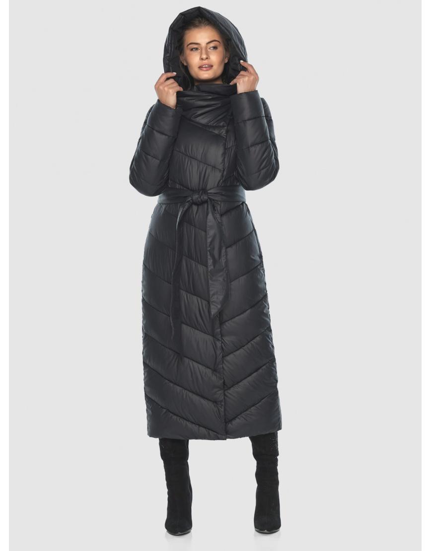 Чёрная стёганая женская куртка Ajento 23046 фото 3