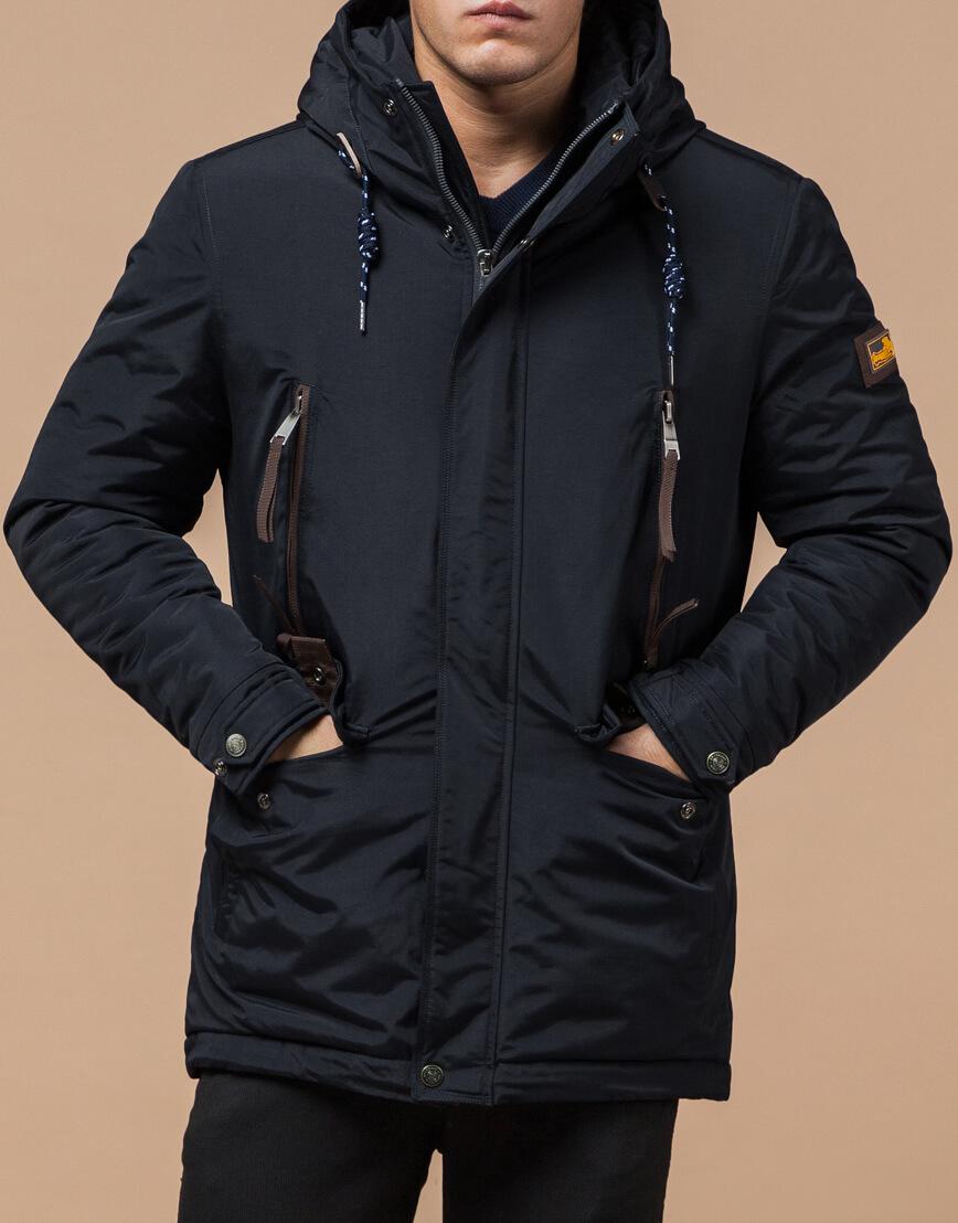 Зимняя парка мужская цвет темно-серый-коричневый модель 1533 оптом фото 2
