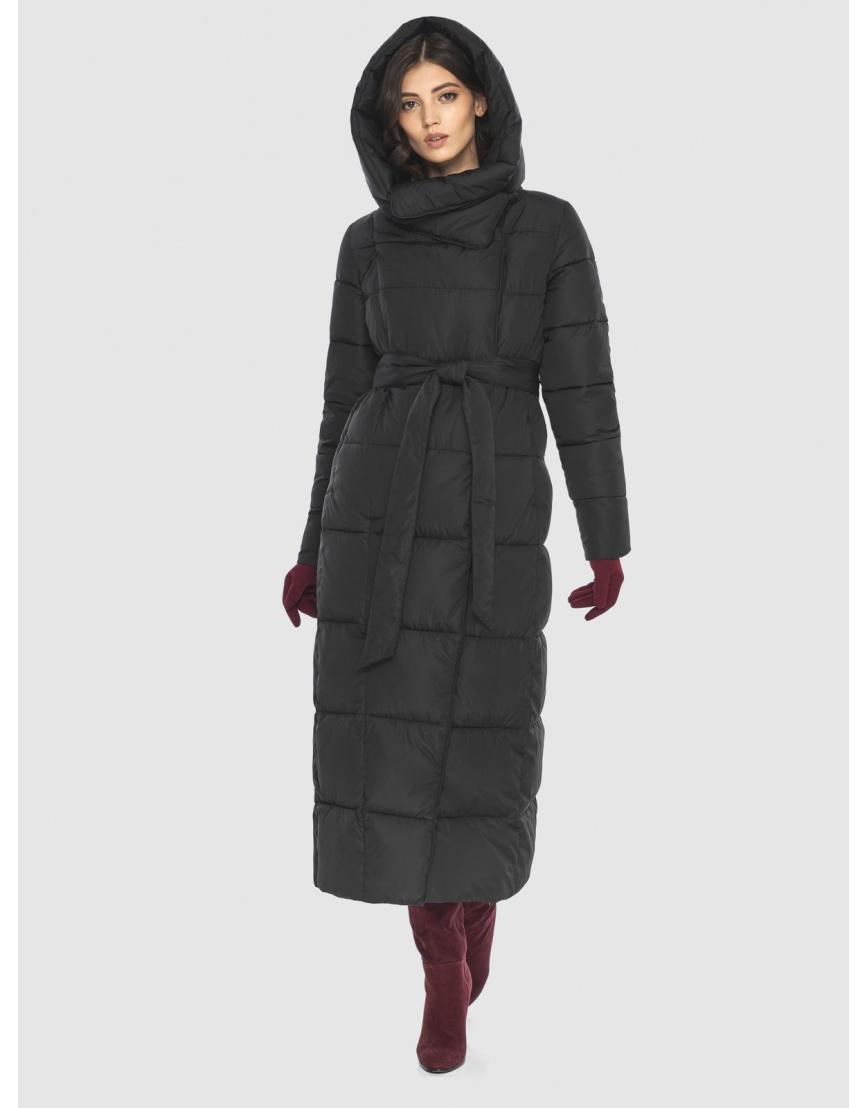 Чёрная куртка длинная женская Vivacana 8706/21 фото 2