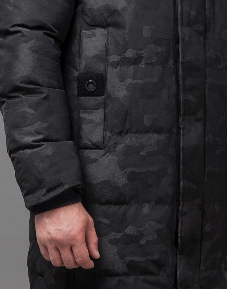 Дизайнерская черная куртка мужская модель 73400 фото 6