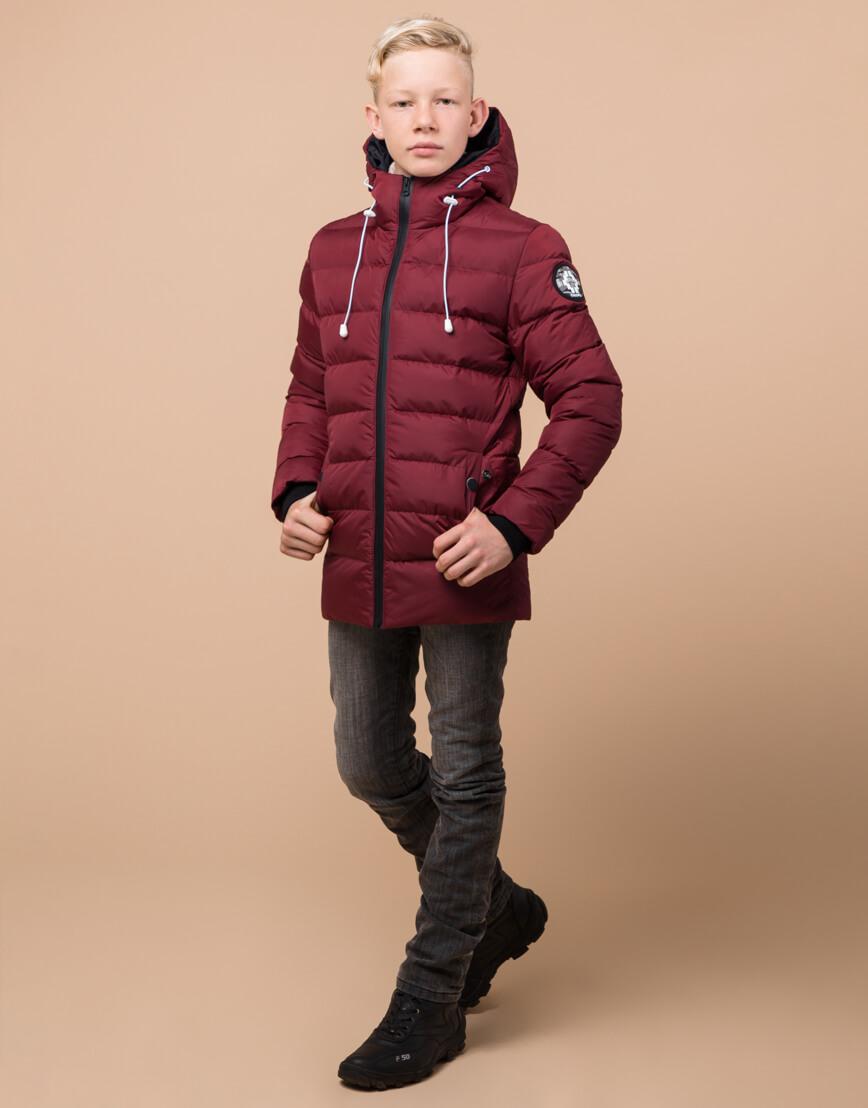 Бордовая детская куртка качественная модель 65028 фото 2