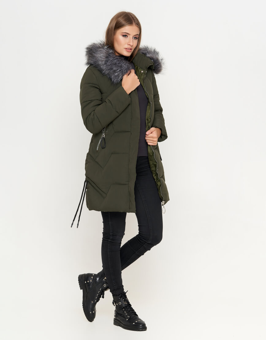 Трендовая куртка женская цвет оливковый модель 6372