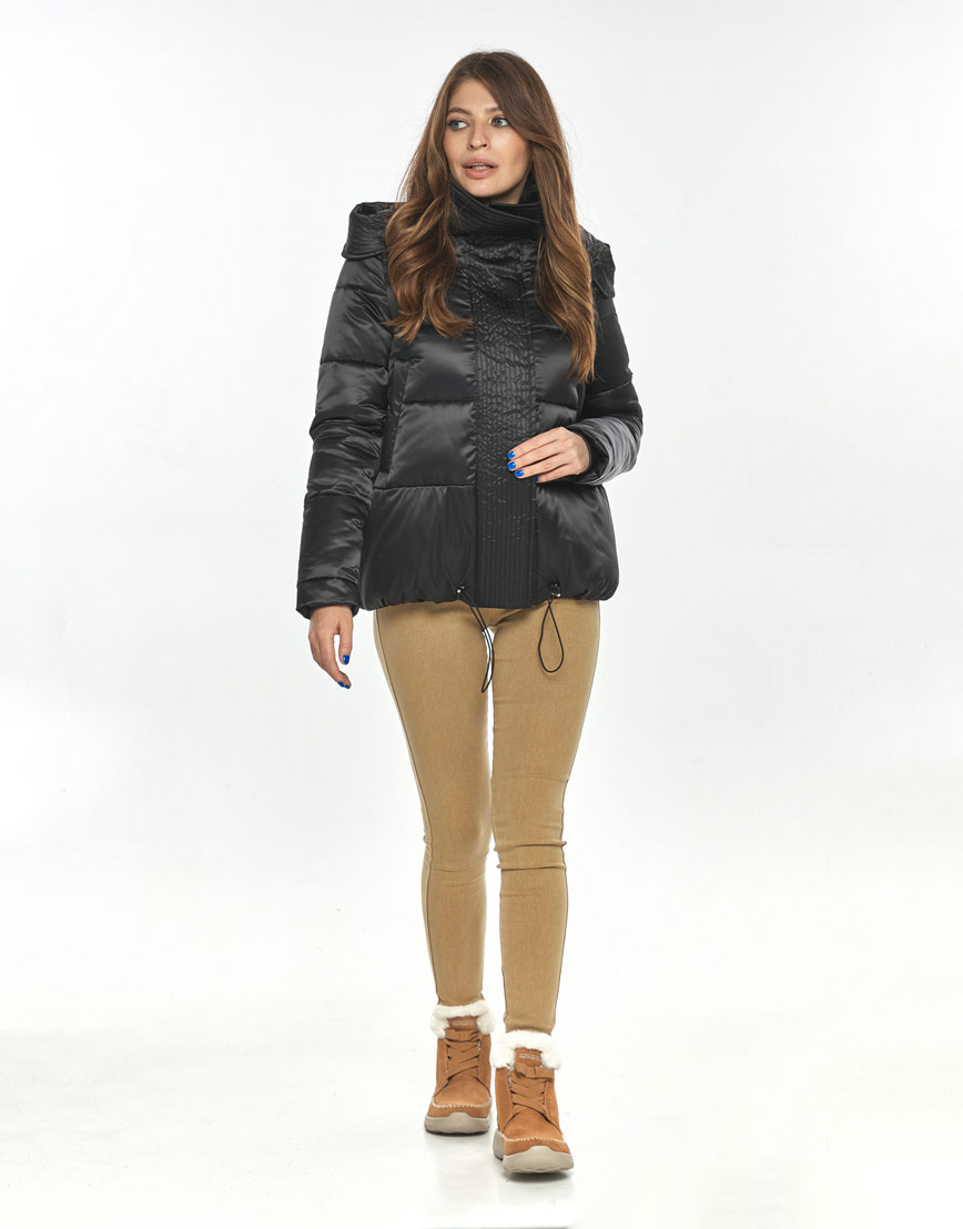 Чёрная оригинальная куртка большого размера женская Ajento для осени 23952 фото 1