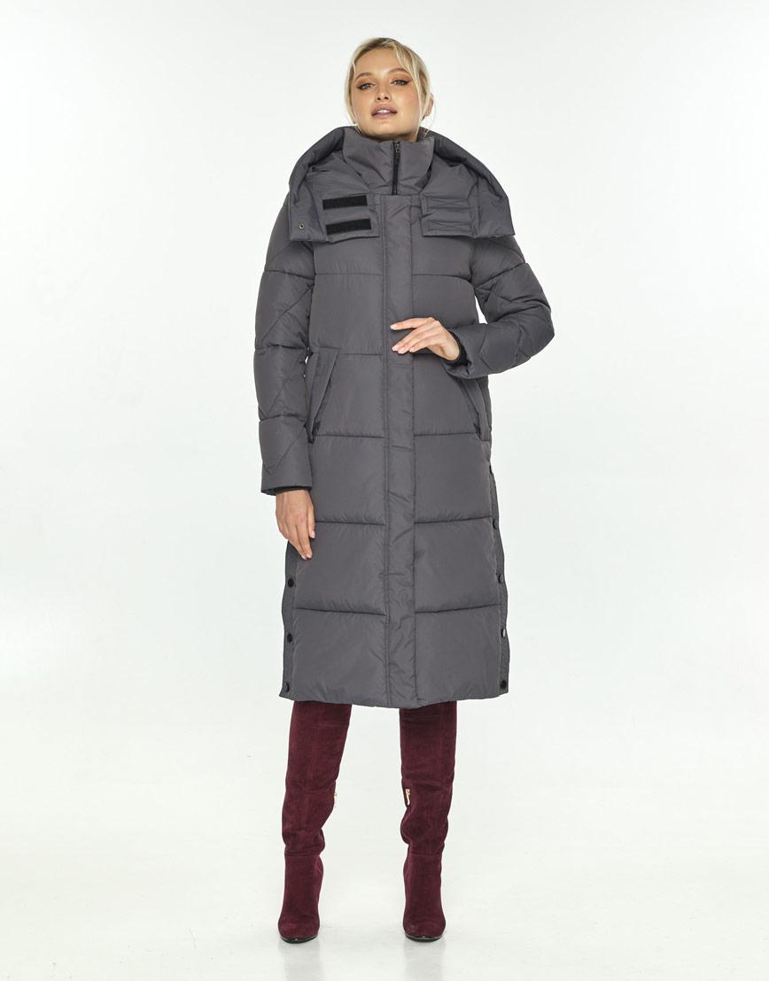 Серая куртка зимняя с капюшоном женская Kiro Tokao 60024 фото 1