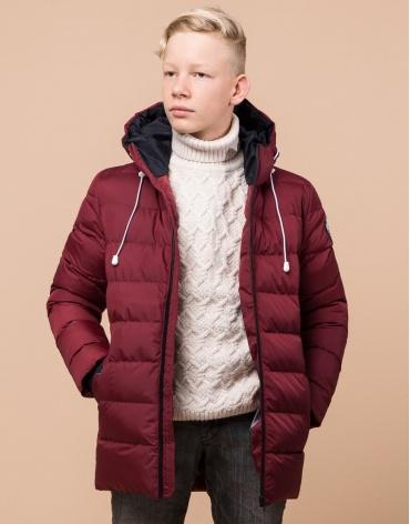 Бордовая детская куртка качественная модель 65028