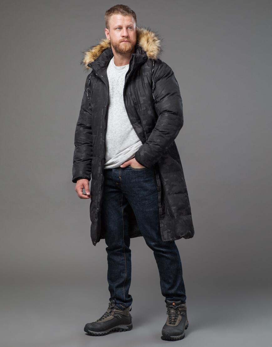 Дизайнерская черная куртка мужская модель 73400 фото 3