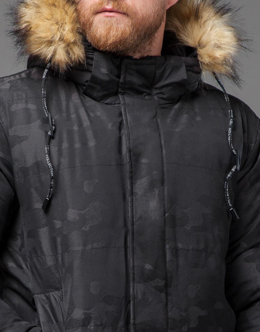 Дизайнерская черная куртка мужская модель 73400 фото 5
