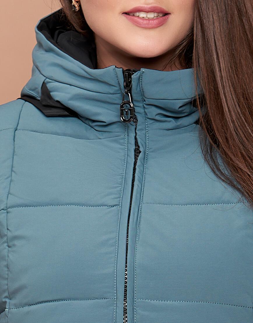 Женская зимняя куртка большого размера цвета светлой бирюзы модель 25175