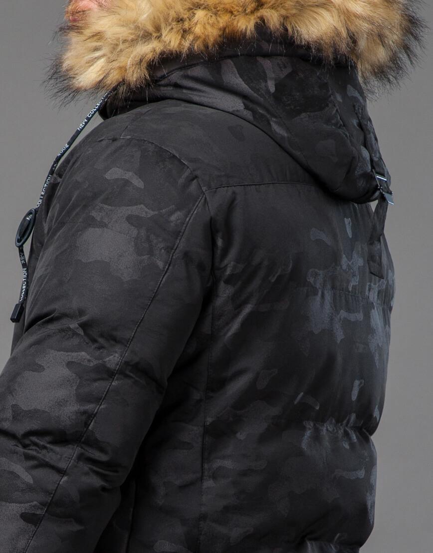 Дизайнерская черная куртка мужская модель 73400 фото 7