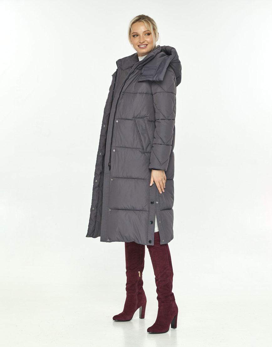 Серая куртка зимняя с капюшоном женская Kiro Tokao 60024 фото 2