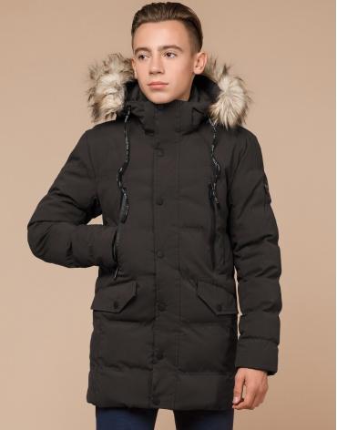 Зимняя брендовая куртка цвета кофе модель 25230 фото 1