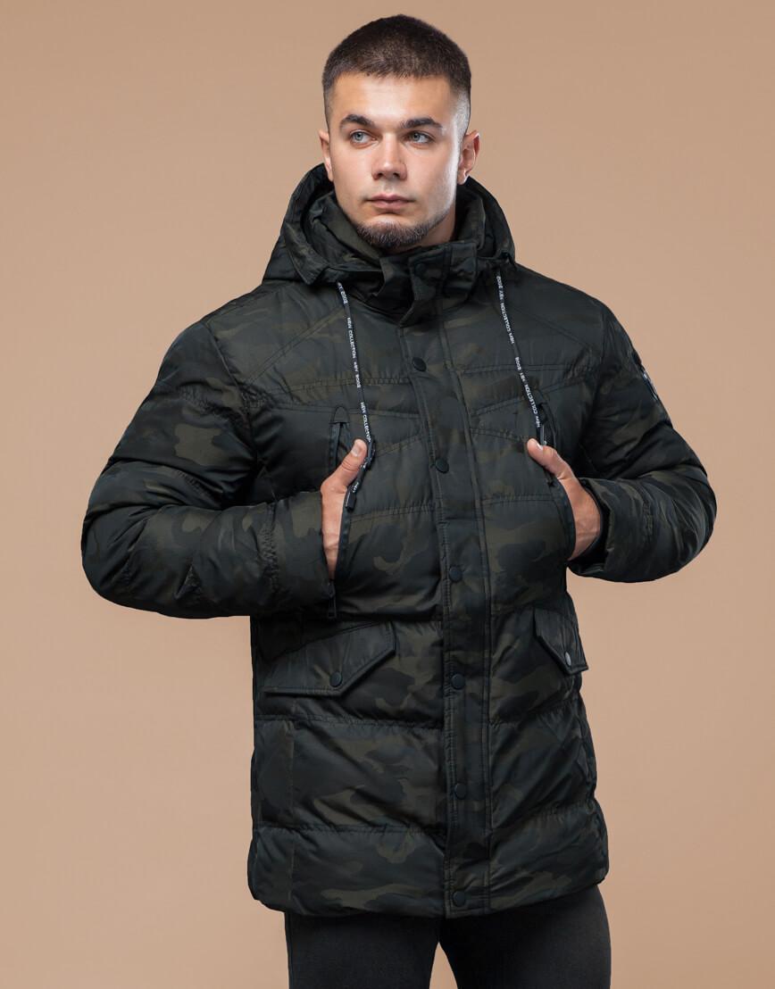 Темно-зеленая подростковая дизайнерская куртка на зиму модель 25140 оптом