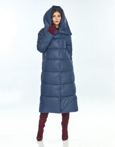 Куртка большого размера синяя зимняя женская Vivacana 9150/21 фото 1