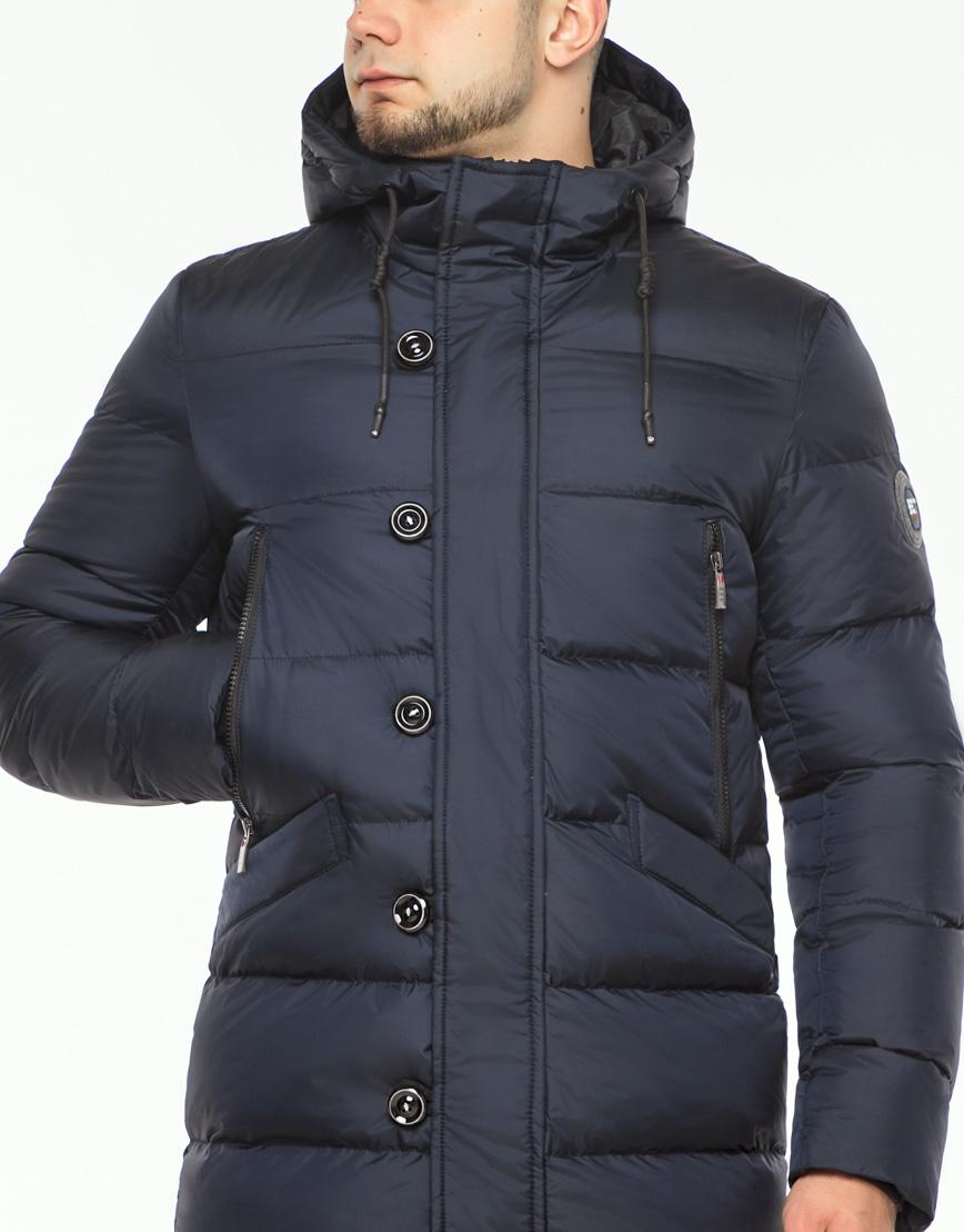 Теплая куртка мужская темно-синего цвета модель 37485 фото 5