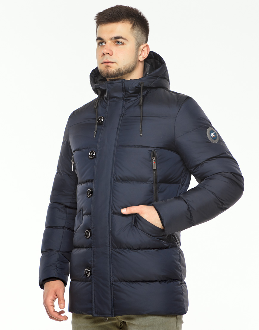 Теплая куртка мужская темно-синего цвета модель 37485 фото 3